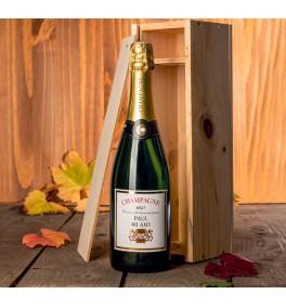 Champagne personnalisé en caisse bois
