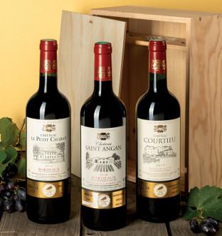 Caisse bois - 3 Bordeaux AOC Médaillés