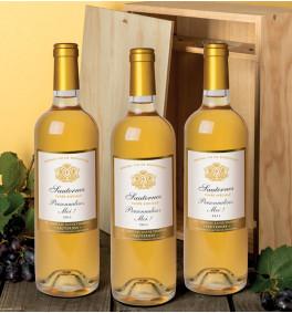 Caisse bois - 3 Sauternes 2011 personnalisés
